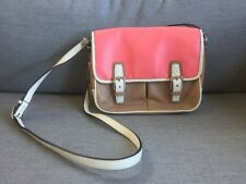 Coach Messenger Courier Bag, Tan, Pink And White, Genuine Leather