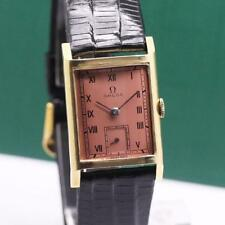 1940's MID SIZE OMEGA RECTANGULAR CASE 18K SOLID GOLD MANUAL WIND WRISTWATCH