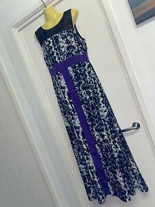Table Eight Size 12 Black White Purple Long Maxi Dress Colour Block BNWT #G91