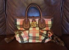 Juicy Couture Pink Brown Plaid Print Fabric Leather Small Purse Handbag Tote