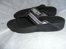 FITFLOP Uomo Nero Tessile Slip On Split Toe pantofole taglia UK 8 EU 42 in buonissima condizione