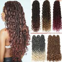 "20"" Goddess Faux Locs Crochet Braids Hair Extensions Curly Ends Dreadlock Woman"