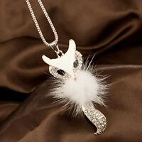 Mode Weiß Lang niedlicher Fuchs Anhänger Halskette Kette Modeschmuck-Kette DE