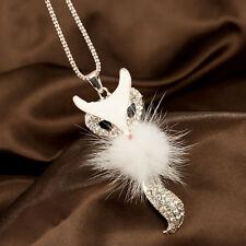 Mode Weiß Lang niedlicher Fuchs Anhänger Halskette Kette Modeschmuck Kette