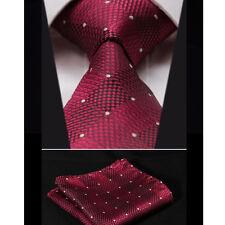 SALE - Maroon Red & Black - Polka Dot Mens Tie - Gift Necktie - INC Free Hanky
