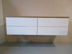 Vero-nika 140 Waschtisch Unterschrank 2.0 2 Aufsatz Waschbecken Weiß m.Platte