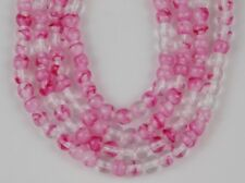 4mm Czech Round Pink White Crystal Pressed Glass Beads 100pcs