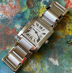 CARTIER TANK FRANCAISE REFERENCE 2465 STAINLESS STEEL WATCH 100% GENUINE QUARTZ
