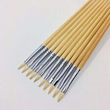 Filbert Artist Paint Brushes Set 10 Pc #1 Pure Hog Bristle For Oil Acrylic Paint