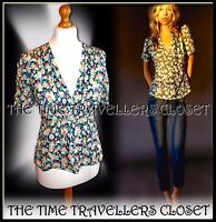 KATE MOSS TOPSHOP BLUE GREEN FLORAL PANSY DITSY WW2 40s LANDGIRL TEA BLOUSE UK10