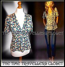 Kate Moss Topshop pensamiento Ditsy Floral Verde Azul Segunda Guerra Mundial 40s Landgirl Tea blusa Reino Unido 6