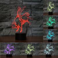 3D Bull Rider Night Light Desk Lamp Touch Room Decor Gift 7 Color Change LED