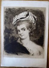 Eau forte originale C. Courtry, Portrait de jeune femme