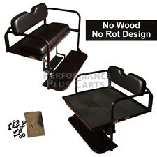 Club Car DS Golf Cart Flip Folding Rear Back Seat Kit for 1982-2000.5 - Black