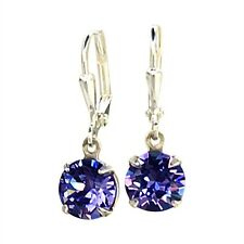 Purple Tanzanite Round Stone Chaton Earrings with Crystals from Swarovski 39ss