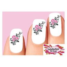 Waterslide Flower Nail Decals Set of 20 - Pink Black Roses