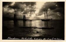 MEXICO, PTO CABELLO, SUNSET SCENE WITH SAILSHIPS, VINTAGE REAL PHOTO POSTCARD