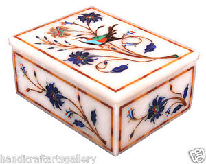 """4""""x3""""x2"""" White Marble Jewelry Anneau Box Bird Art Gemstone Pietradur H2266"""