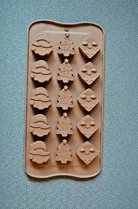Silikon Pralinenform Backform Schokolade Konfekt Weihnachtsmann Tannenbaum