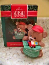 1992 Hallmark Grandson's First 1st Christmas Teddy Ornament
