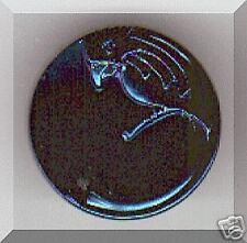 CZECH GLASS BUTTON - Parrot Black Midnight blue Luster