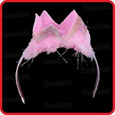 PINK PRINCESS QUEEN FAIRY FAIRIES SEQUIN CROWN HEADBAND-HEADDRESS-HAIRBAND-PARTY