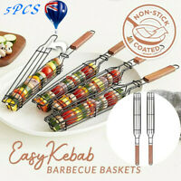 5Pcs BBQ Barbeque Kabob Grilling Basket Rack with Wood Handle Good Quality NEW