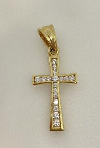 Gold Cross Pendant 9ct Yellow Gold Cross Pendant Sparkly Stone Set Cross Pendant