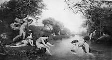 NUDE Mythology Nymphs Teach Young Bacchus to Swim - Victorian Era Print