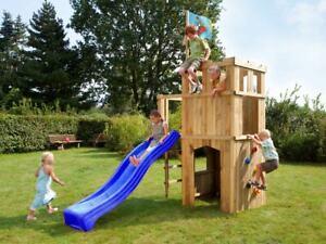 Spielturm Garten Spielhaus Holz Stelzenhaus Kinderspielhaus mit Rutsche blau