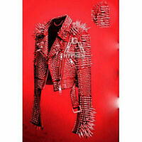 New Men's Full Red Punk Silver Long Spiked Studded Brando Cowhide Leather Jacket