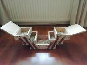 Vintage Floral Cantilever Sewing Box