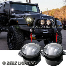 "High Power 30W 4"" CREE LED Round Fog Driving Lamp Kit Front Bumper Light Bulb LJ"