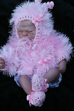 HAND KNITTED baby girl pink  fur jacket , bonnet booties set  19 /21 in reborn