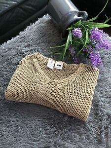 DKNY Women's Sweater PETITE size S petite Light Brown v-neck Cotton/Linen/Ramie
