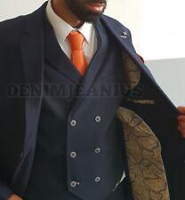 Mens Cavani Radley Navy 3 Piece Textured Formal Suit Tailored Fit Wedding