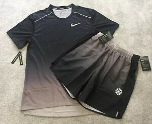 NEW Mens Nike Miler Printed T-Shirt Top & Shorts SET Running Gym Holiday Sports
