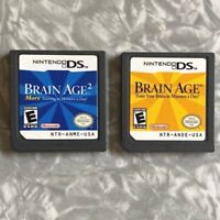 Brain Age 1 & 2 Nintendo DS Games Cartridges Only TESTED Fast Ship! Lot VG
