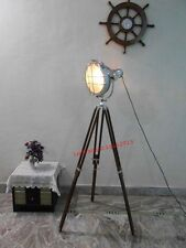 NAUTICAL ELECTRIC FLOOR SEARCHLIGHT WITH BROWN WOOD &TRIPOD STAND SPOTLIGHT LAMP