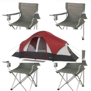 Camping Dome Tent 8-Person Modified Rear Window E-port BUNDLE 4 Chairs 2 Rooms