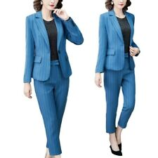Korean Women Business Dress Suit Long Sleeve Blazer Ninth Trousers Stripe 2Pcs L