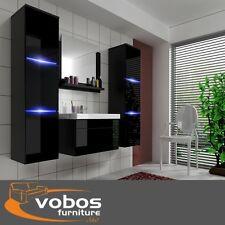 Set di mobili da bagno muro alto basso Armadietto Armadio Specchio Lavandino LED extra lucida