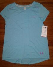 Under Armour Blue Girl's UA Studio Pocket T-Shirt New Youth Large 1242911