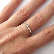 Bague fine anneau perlé solitaire zirconium CZ argent 925 T. 52,54,56,58, BA90