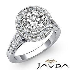 Elegant Round Diamond Halo Pave Engagement Ring GIA F VS2 14k White Gold 2.3ct