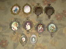 5 + Five Pair Vintage Brass Glass Framed Pictures Italy _ Minature Sets - NICE !