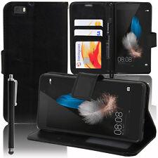 La copertura della cassa nera Portafoglio Supporto Video Falda Huawei P8lite/