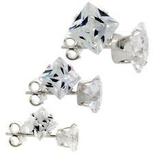 925 Silver 3-Pair Set Princess Cut Cubic Zirconia Stud Earrings 4, 5 and 6mm