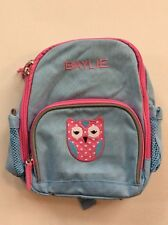 Pottery Barn Kids Mini Preschool Fairfax Blue Pink Owl Backpack Name Baylie New!