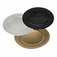 Set Of Large Lacquer Gold Round Charger Plates Square